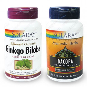 Pack Mémoire & concentration Ginkgo + Bacopa Solaray
